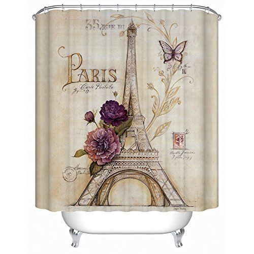 Uphome Vintage Paris Themed Light Brown Eiffel Tower Bathroom Shower Curtain Purple Flower Custom Polyester Fabric Bath Decorative X You Can Get