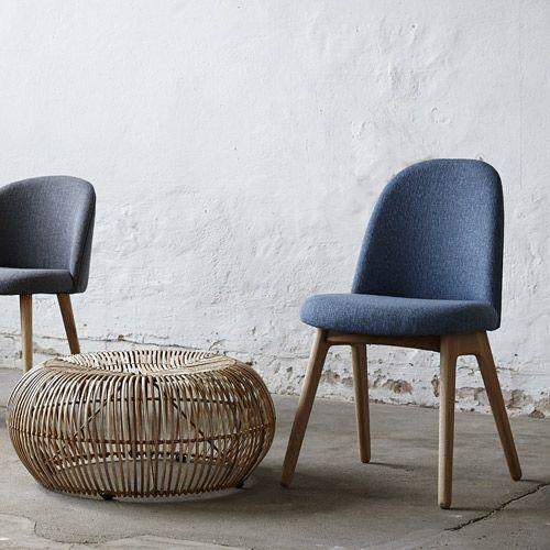 Chaise en chªne naturel et tissu bleu chiné sur decoclico