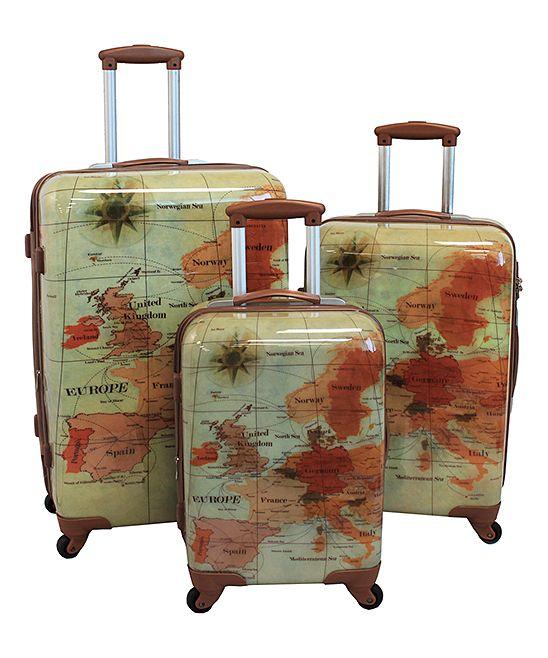 Green & Brown Euro Three-Piece Rolling Luggage Set