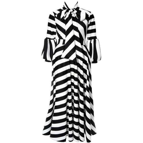 4dd60fdc77c44 Plus Size Puff Sleeve Maxi Dress with Tie Neck, Black White Stripes ($80) ❤  liked on Polyvore featuring dresses, plus size long sleeve dresses, ...