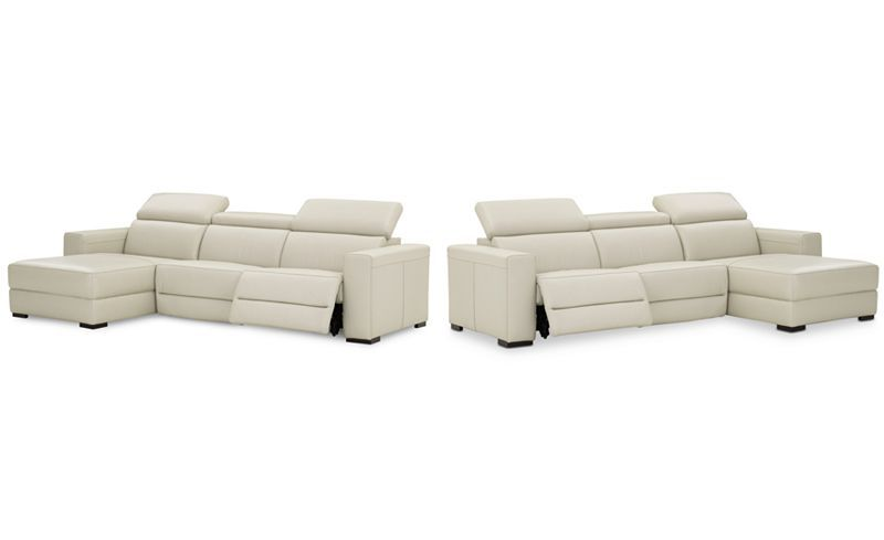 Nevio 3 Pc Leather Sectional Sofa With Chaise, 1 Power Recliner And  Articulating Headrests, Created For Macyu0027s