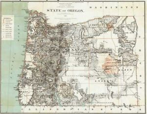 1879 Oregon Map Hillsboro Madras North Bend Molalla JEFFERSON