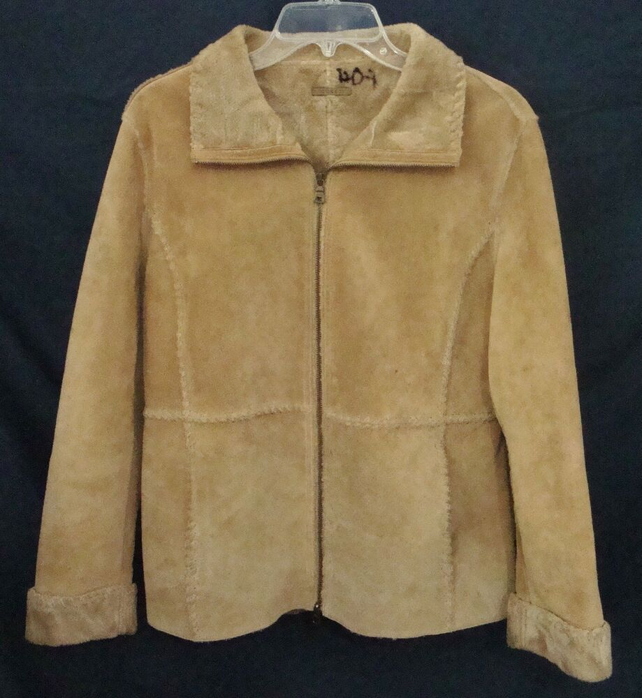 GUESS Suede Coat Boho RETRO Zip Front Jacket Beige Faux Fur Lined Women Medium