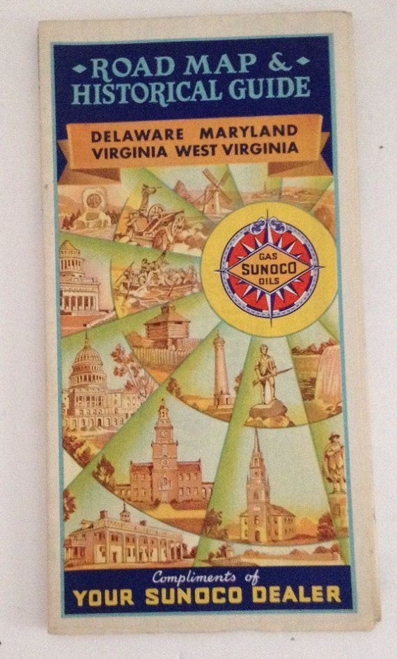 Vintage Sun Oil Co Sunoco Road Map 1940 Delaware Maryland