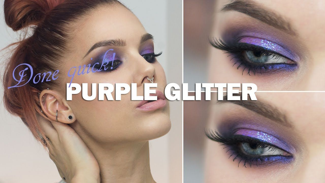 Done Quick- Purple glitter eyes  - Linda Hallberg makeup tutorials