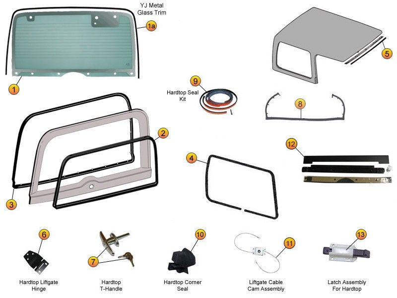 Hardtop Liftgate Glass Seals Replacement Parts For Wrangler Yj Jeep Cj S Jeep Hard Top Jeep Jeep Cj