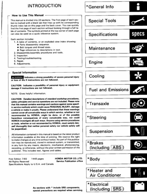 1994 2001 Acura Integra Rs Ls Gs R Service Manual 100 Per Cent Download Acura Integra Manual Acura