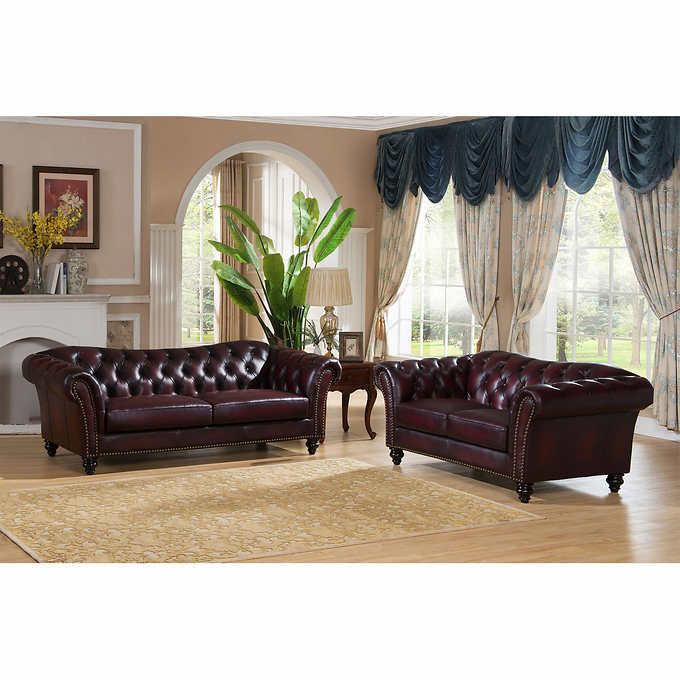 xavier burgundy top grain leather living room sofa and loveseat