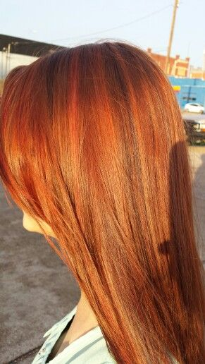Natural Red Mixed With Pops Of Bright Red And Copper Definitely Spring Time Hair Rusk 7cc 6cg 4ch Pravana Hair Color Formulas Natural Red Hair Hair Skin