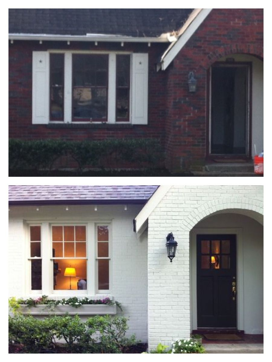 Painted Brick Before And After Cottage Style Painted Brick House House Exterior Exterior Brick