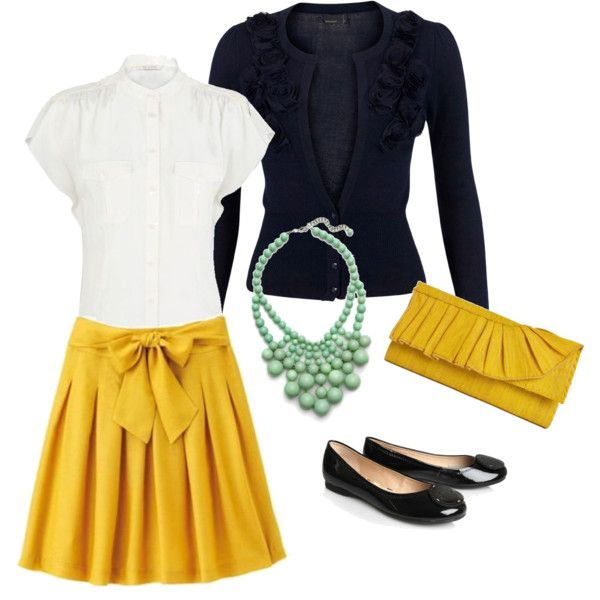 Mustard, Mint and Navy, by j.marice love the skirt