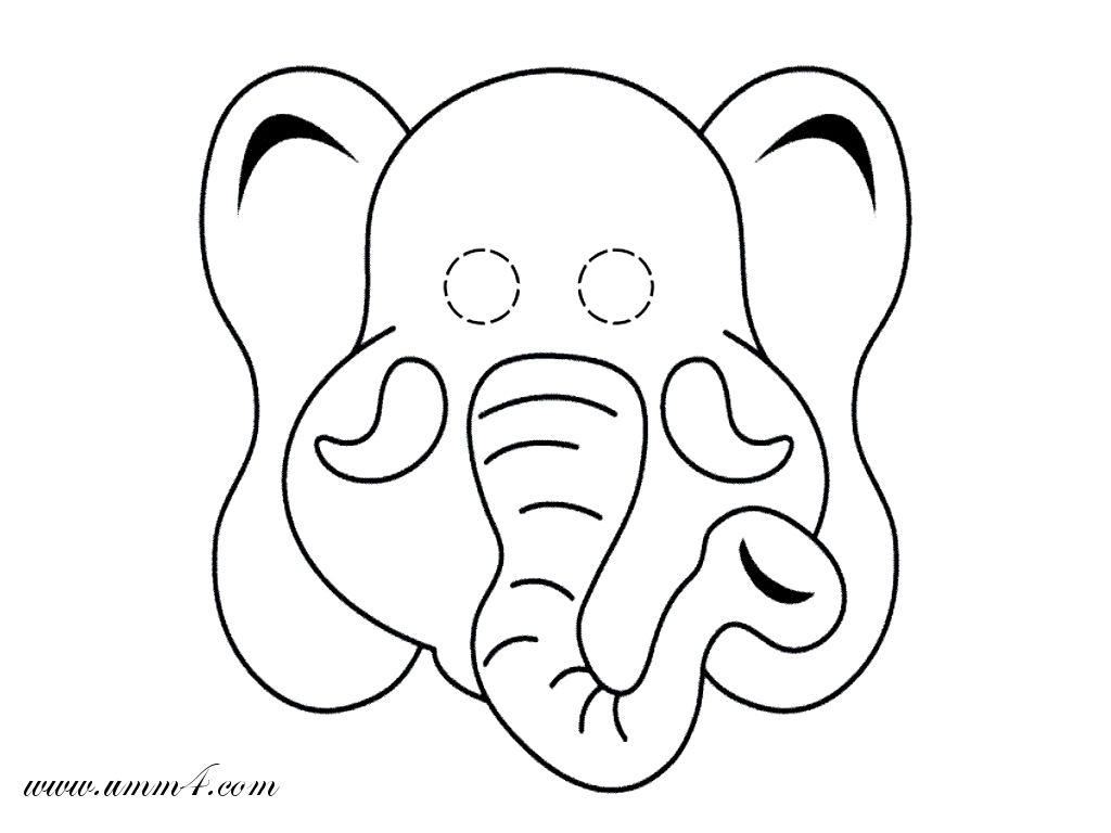 Kleurplaten Dieren Maskers.Mask Of Paper Elephant Olifant Knutselen Olifanten En