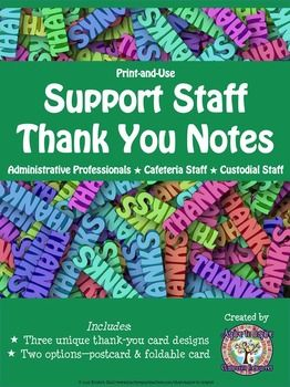 FREEBIE Support Staff Thank You Notes #custodianappreciationgifts