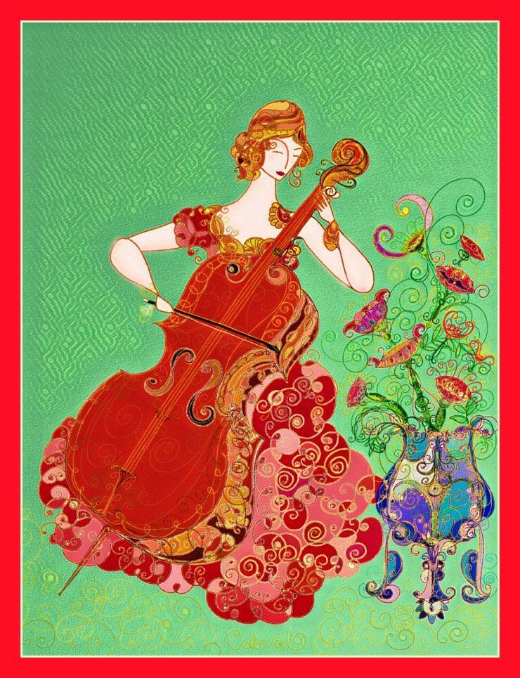 Whimsical Wall Art music wall art - cello - feminine art - art nouveau style print