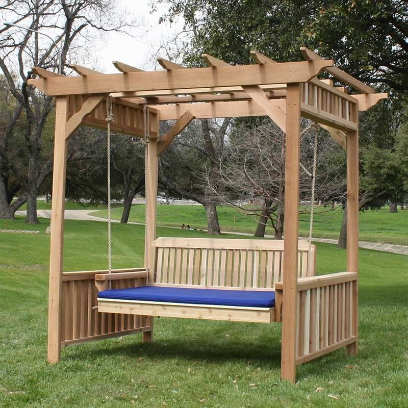 Tmp Outdoor Furniture Traditional Red Cedar Deluxe Arbor Swing Bed