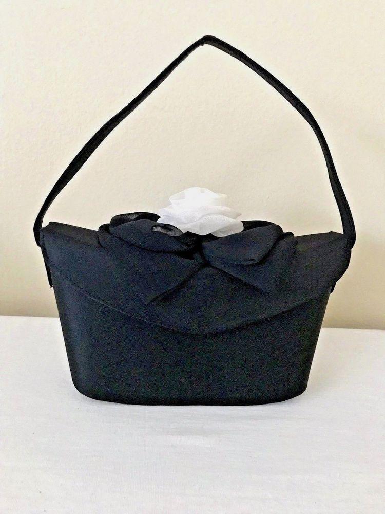 6e6e66fb4f4 Fashion Bag Womens Black Fabric Formal White Rose Top Handbag Purse   eBay   buypurseonline