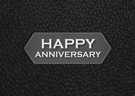 Leather emblem anniversary greeting card anniversary cards