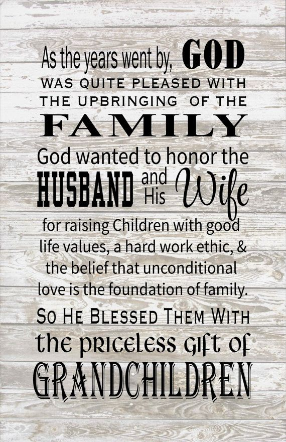God Blessed the Husband  Wife with Grandchildren Wood Sign, Print