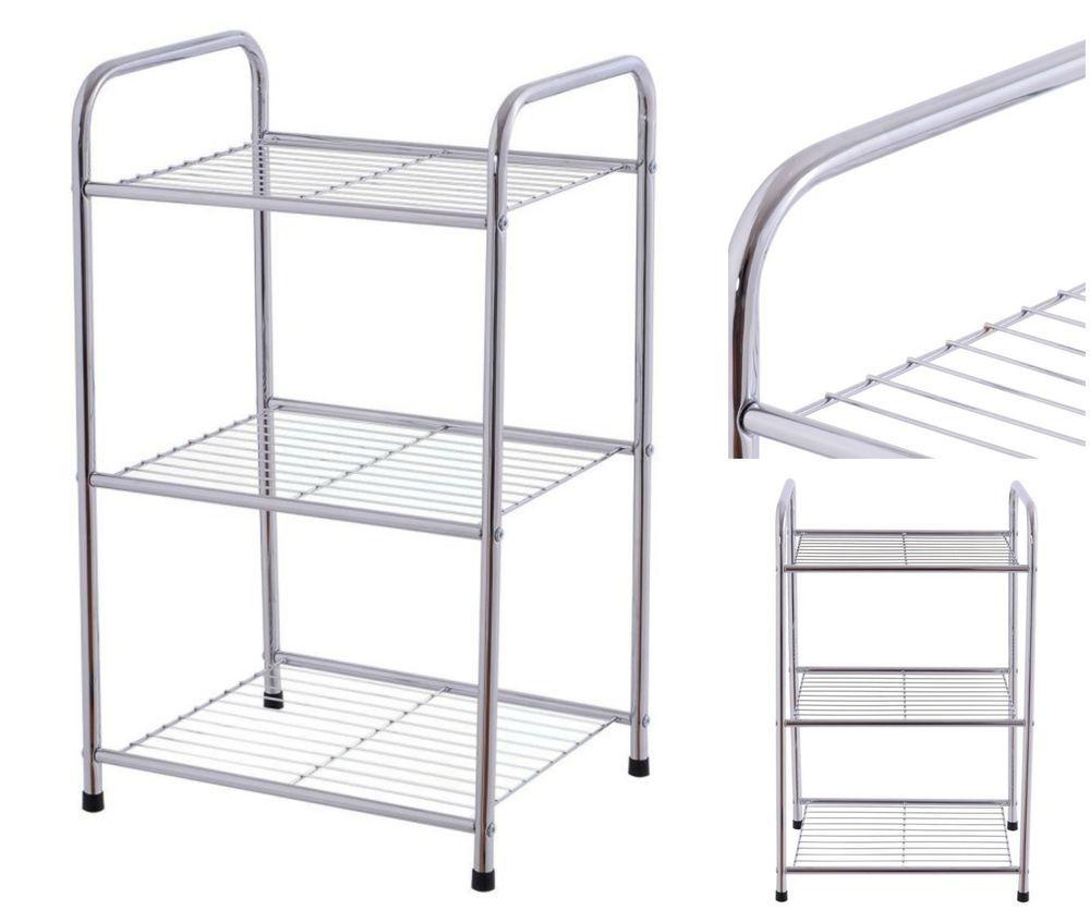 3 tier storage rack metal organizer home kitchen bathroom shelves rh pinterest com