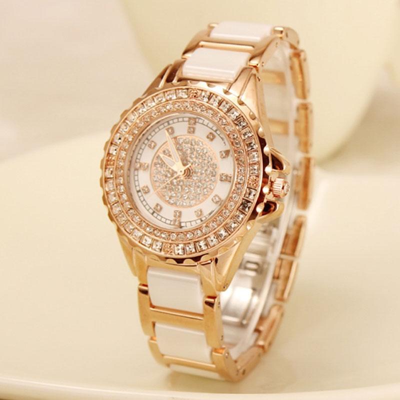 21.72$  Buy here - http://ali6qw.shopchina.info/go.php?t=32794016158 - Luxury  Rose Gold Quartz Wristwatch Fashion Women Crystal Watch Diamond Ceramic Band Dress Watch Rhinestone Relogio Feminino 21.72$ #magazineonlinebeautiful