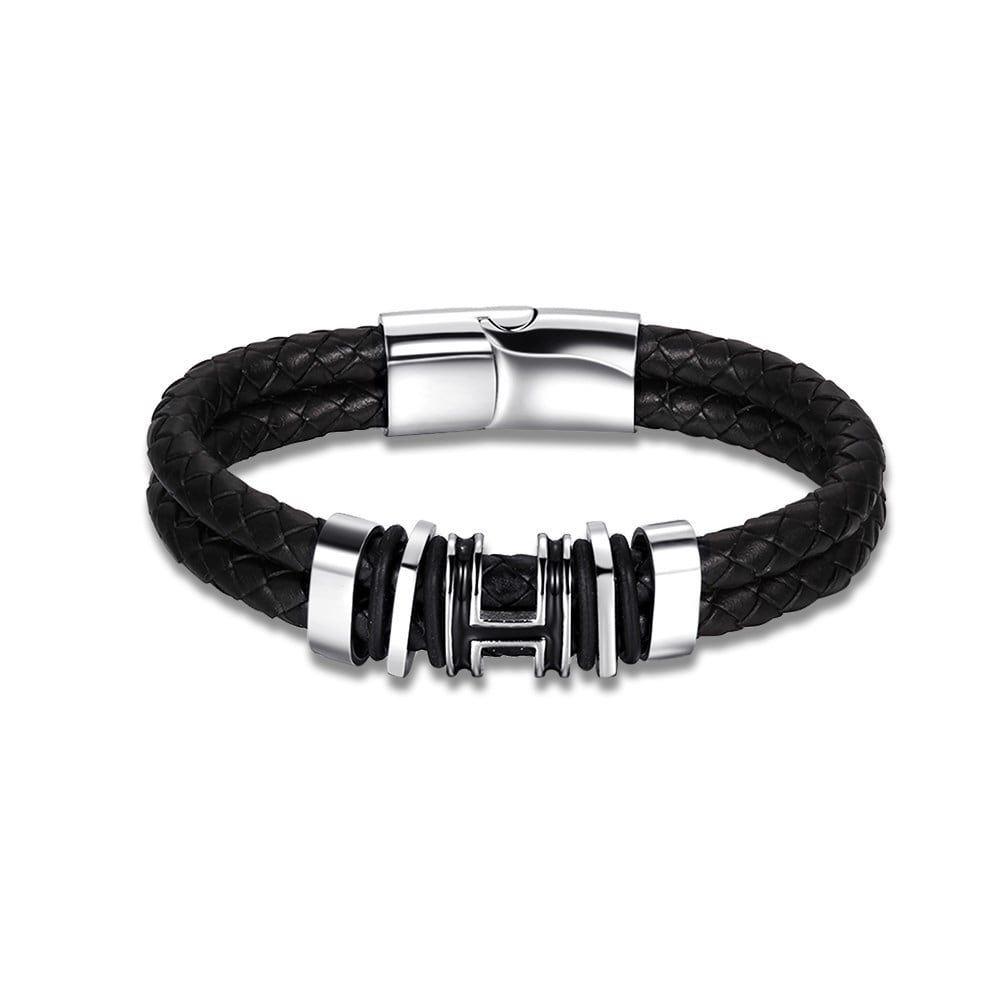 Hakbaho jewelry genuine leather multi curved lining design bracelet