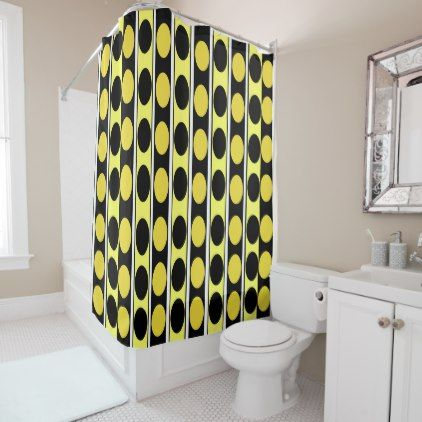 Black Yellow and White Stripes and Polka Dots Shower Curtain - black ...