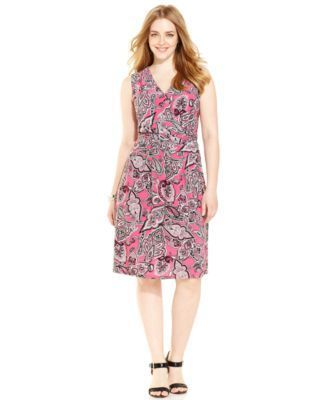 INC International Concepts Plus Size Paisley-Print Faux-Wrap Dress ...