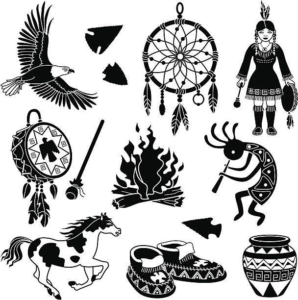 Native American Indian Designs Silhouette Clip Art Vector