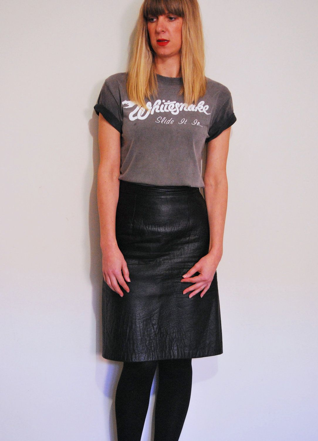 af1faeed3356 Vintage 1980s Siricco Vera Pelle high-waisted black leather pencil skirt