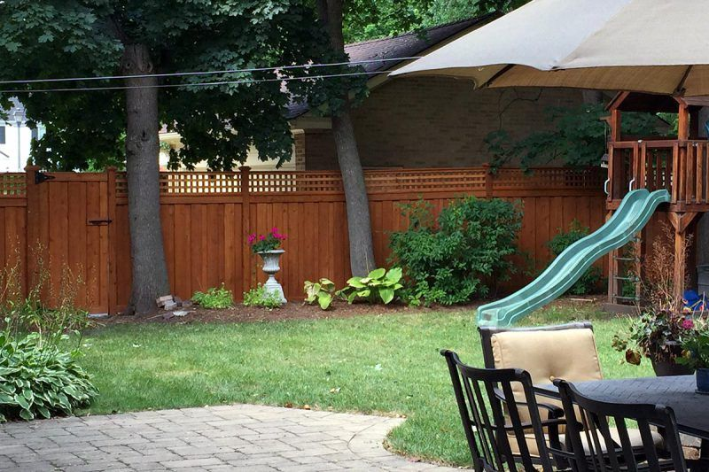 Photo of a wood fence installed by First Fence Company in Hillside