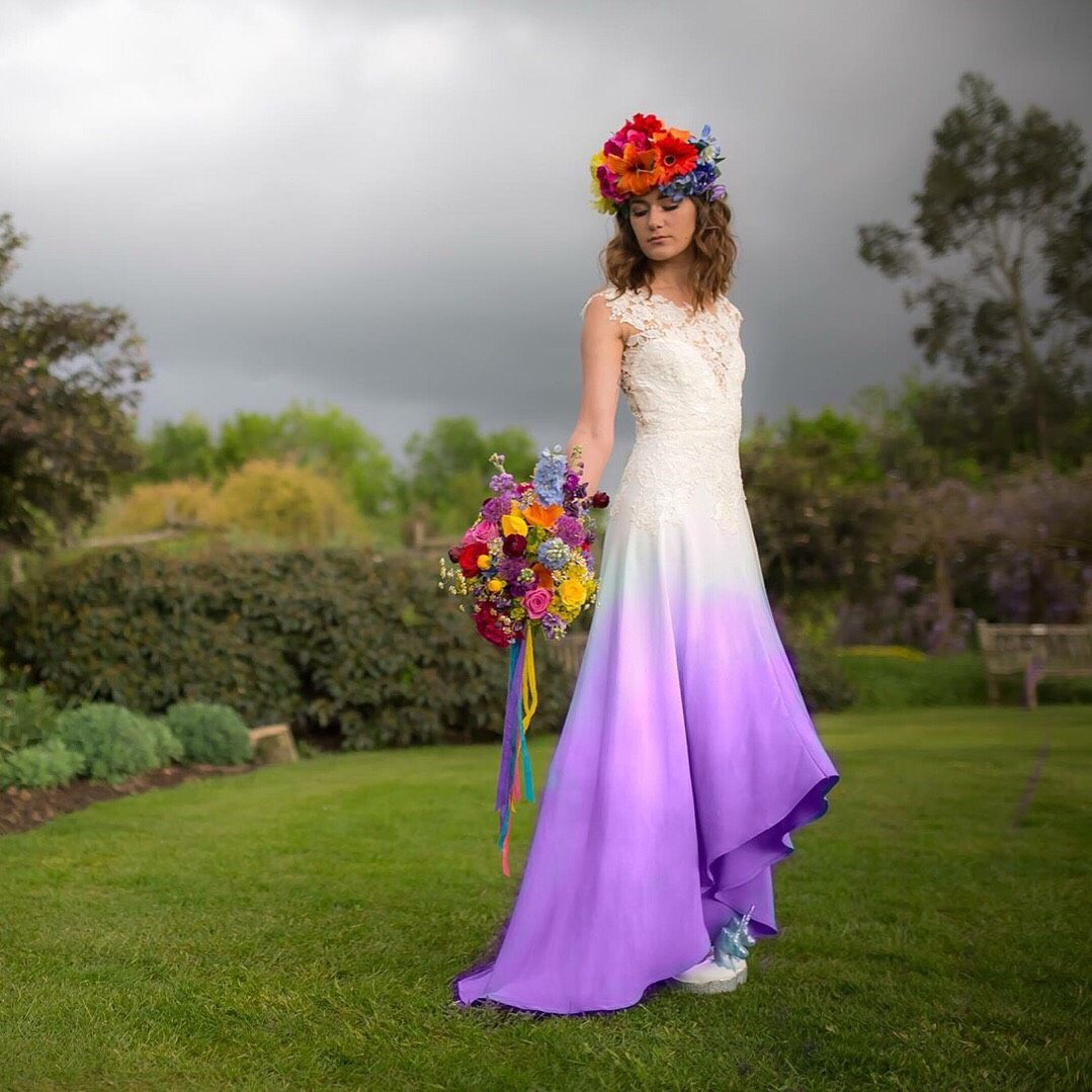 purple dip dyed wedding dress by lucy can\'t dance. add a splash of ...