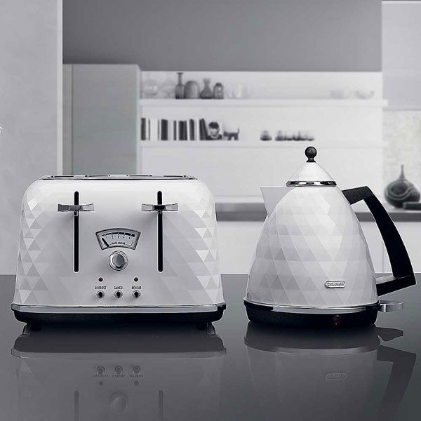 Delonghi Brilliante Kettle In White Modern Faceted White