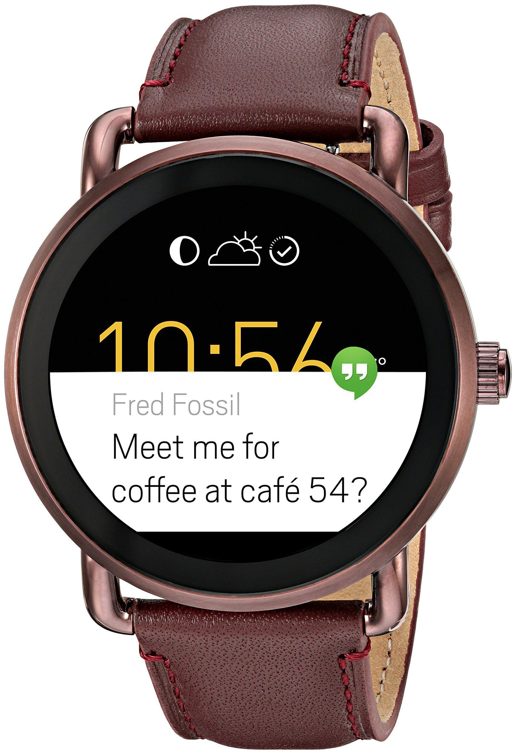 Fossil q wander gen 2 touchscreen wine leather smartwatch