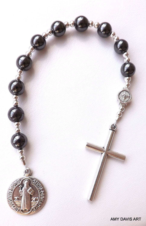 Menus pocket rosary hematite black beads men or boys one decade