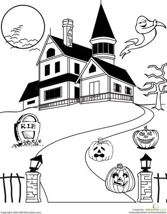 Haunted House Coloring Haunted house drawing, Haunted