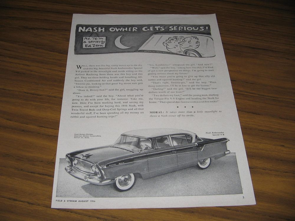 1956 Print Ad Nash Ambassador Special V-8 No. 76 in Series by Ed Zern in Collectibles, Advertising, Merchandise & Memorabilia | eBay