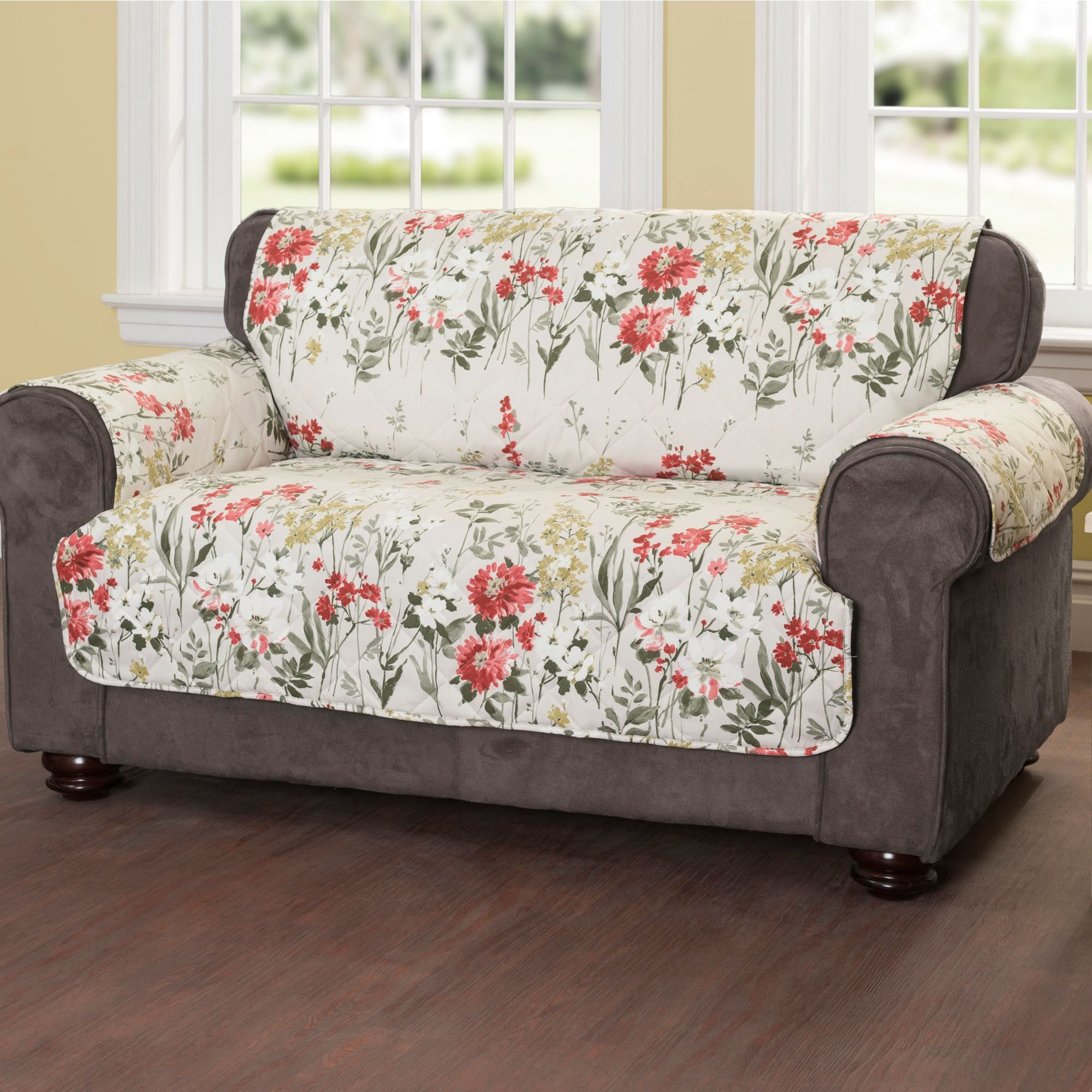 Quilted Lounge Chair Covers Floral Meadow Quilted Furniture Protectors Living Room