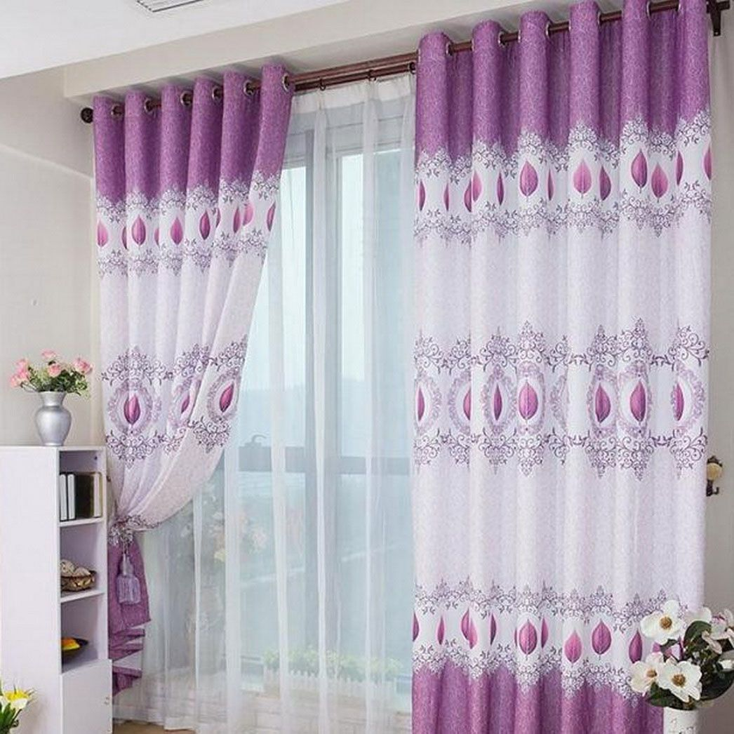 Purple Living Room Curtains Interiorlovable Double Layer White Curtains And Chic Purple