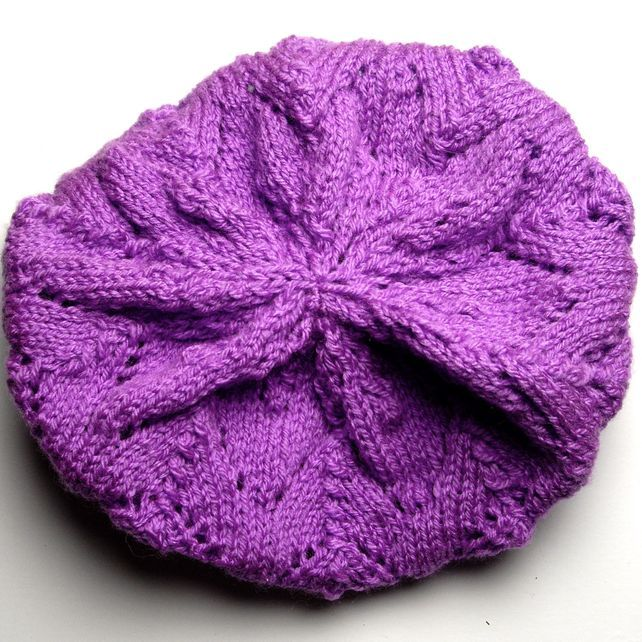 Pretty Purple Hand Knitted Beret £15.00