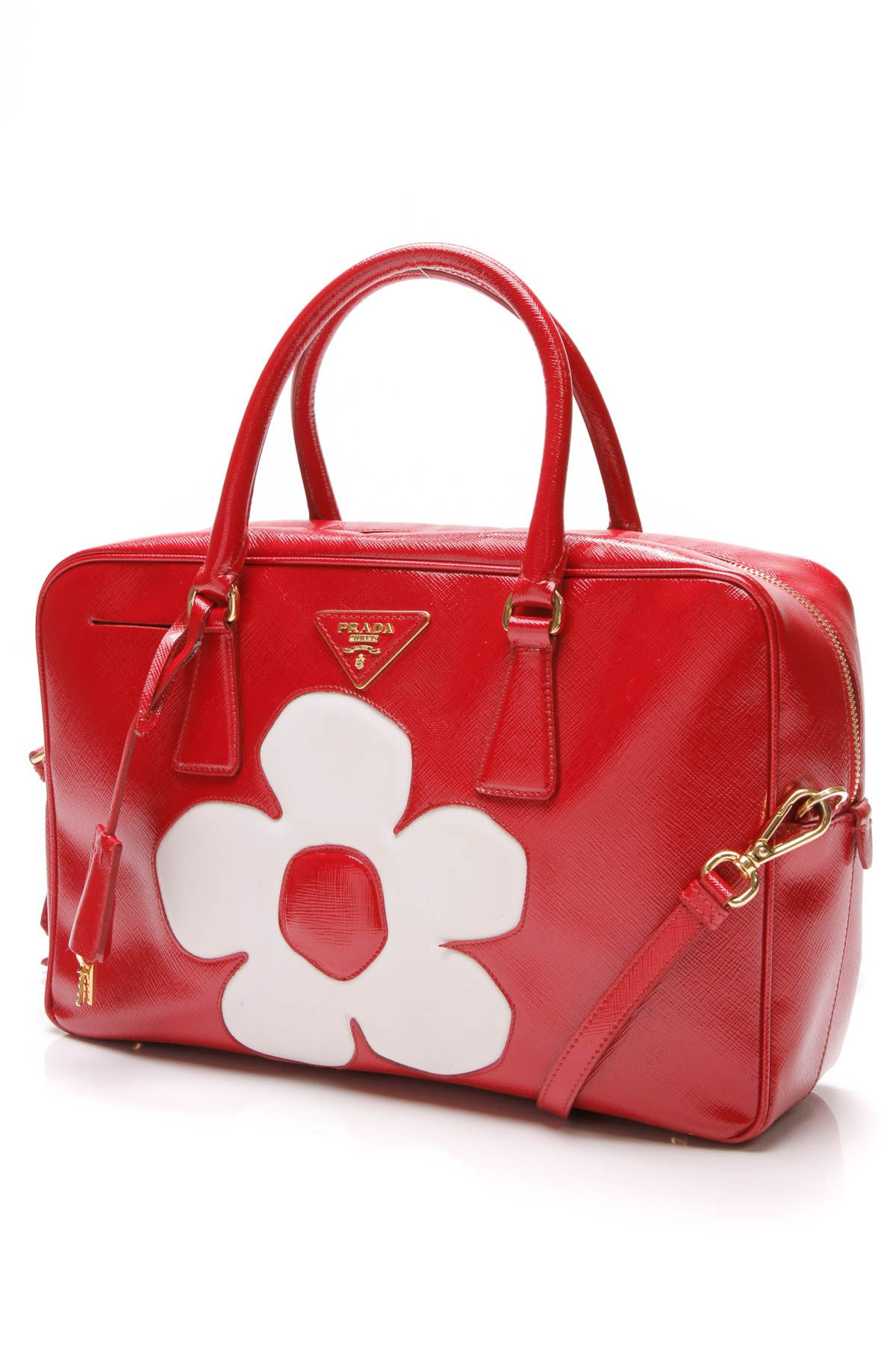d6d9cadb36d5 Bauletto Flower Satchel Bag - Patent Saffiano Leather   Things I ...
