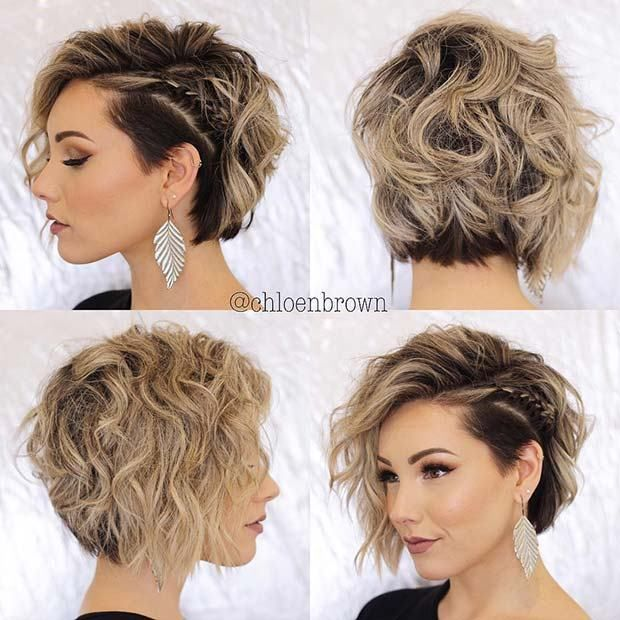 23 Quick And Easy Braids For Short Hair Quickbraids Easybraids Shorthair Shorthairstyles Crazy Messy Short Hair Hair Styles Curly Hair Styles Naturally