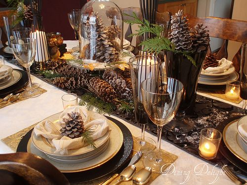 Woodland Transition Winter Table Centerpieces Winter Table Christmas Table Settings