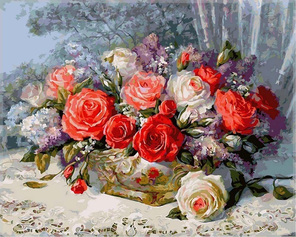 Картина по номерам «Розы на веранде» | Цветочное искусство ...