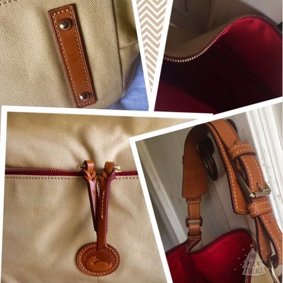 ✨Gorgeous canvas shoulder bag NWOT Beautiful tan canvas Med Sac- two zipper front pockets. Zip closure! Breath-taking  premium leather handle. Red interior w/ leather key lobster claw,  3 pockets and one side zipper interior closure. Comes with dust bag✨ Dooney & Bourke Bags Shoulder Bags