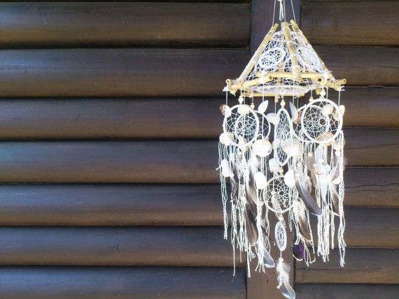 natural white dream catcher mobile home decor home by Vision4Life