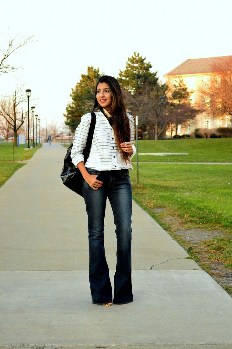 More on www.missminussized.com with @hutchdesignnyc #flares #stripes #casual