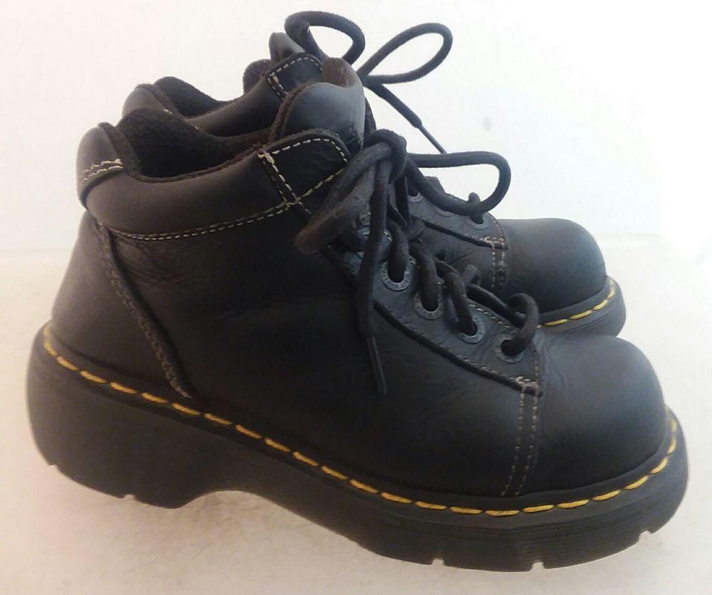 f24a6109ec8 Details about Dr Martens Black Leather Unisex Low Boots Mens Size 7 ...