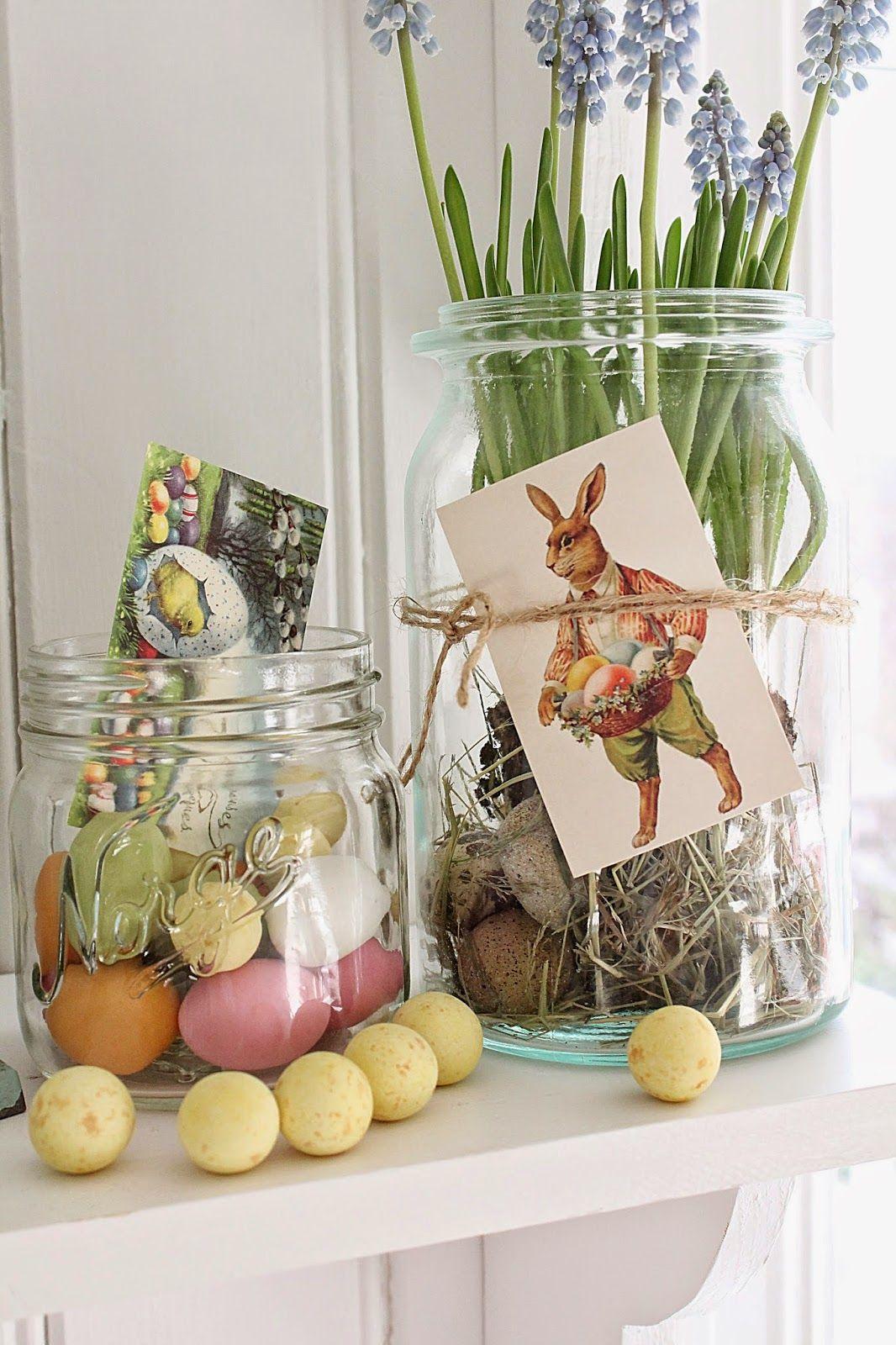 Tolle Gestaltungsideen für Osterdekoration mit Eiern, Einmachgläsern & Blumen #Ostern #diy