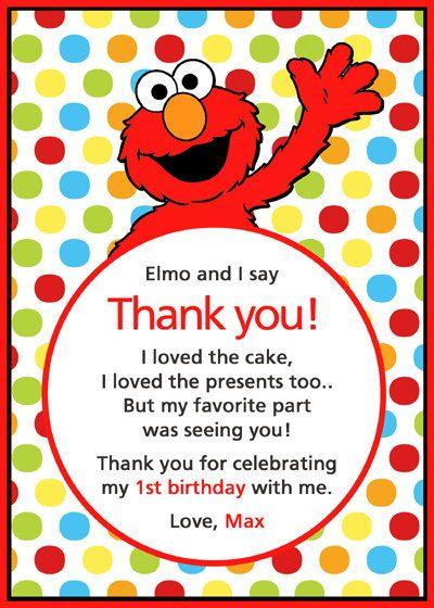 Elmo Thank You Card Wyatt S First Bday Pinterest Elmo Birthday