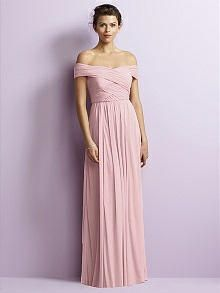 472e9e63e084 Full length off the shoulder bridesmaid dress in chiffon knit has rouched  crossover bodice and pretty shirred skirt. Sizes 00-30W regular or extra  length.